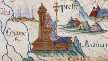 Representación del Preste Juan como emperador de Etiopía en un mapa portugués que fue un regalo a la reina María de Inglaterra en 1588.